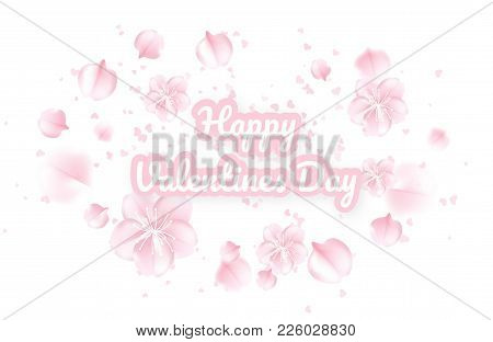 Valentines Day Background With Pink Sakura Falling Petals. Vector Illustration. Vector Illustration