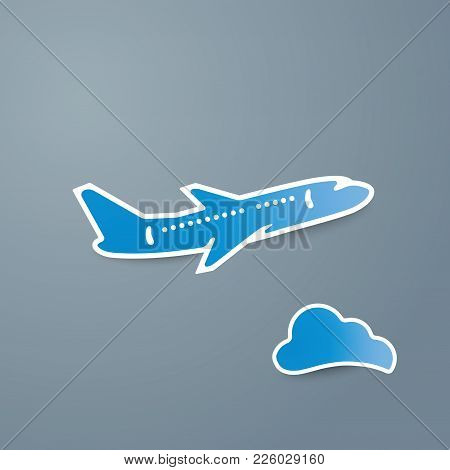 Blue Airplane And Cloud Icon On Grey Background Vector Illustration. Airport Icon, Airplane Shape. F