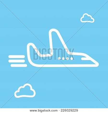 Cartoon Sketch Airplane And Cloud Icon Vector Illustration. Airport Icon, Airplane Shape. Flat Airpl