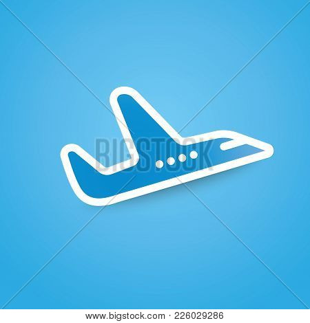 Icon Of Airplane, Plane On Blue Background Vector Illustration. Airport Icon, Airplane Shape. Flat A