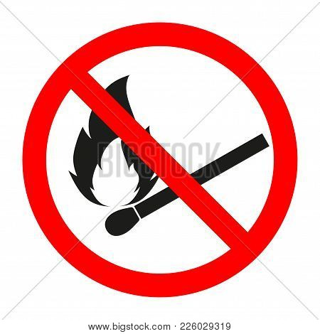No Fire, No Open Flame Sign. Vector Illustration