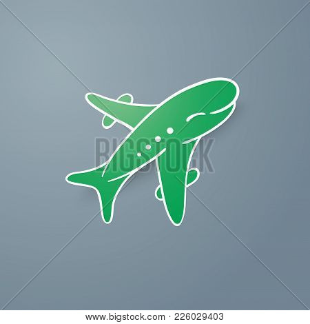 Icon Of Green Realistic Airplane On Grey Background Vector Illustration. Airport Icon, Airplane Shap
