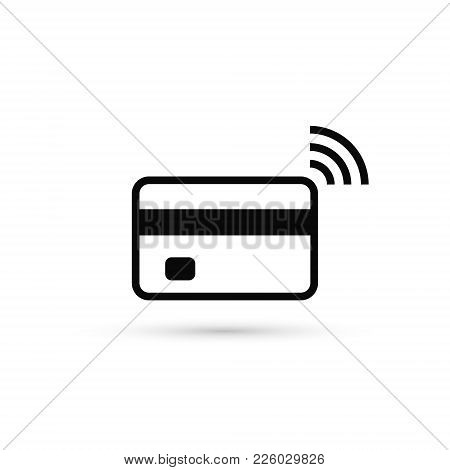 Contactless Credit Card Icon, Card With Radio Wave Sign, Bank Card Payment Isolated Icon, Vector.