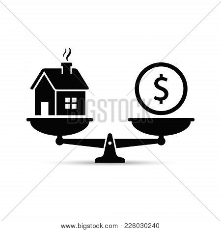 Money And House Scales Icon. Money And House Balance On Scale Concept. Real Estate Sale. Vector Isol