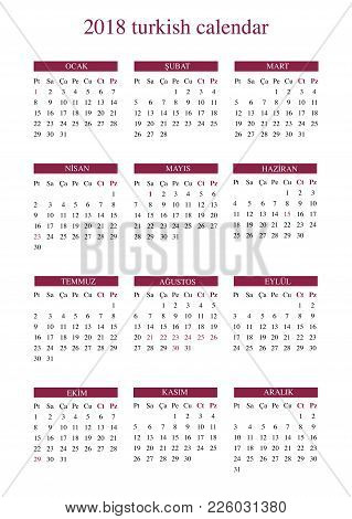 2018 turkish calendar with public holiday and religious holidays