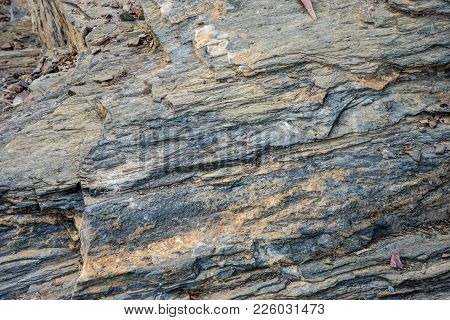Design Patterns On Stone At The Mountain At Malaga, Spain, Europe