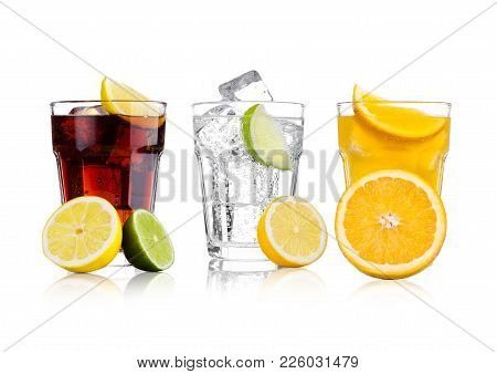 Glasses Of Cola And Orange Soda Drink And Lemonade Sparkling Water On White Background With Ice Cube