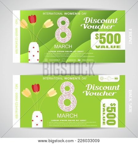 Vector Set Of Discont Voucher For 8 Of March On The Green Background With Waves With Flowers In The