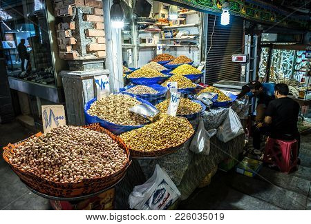 Tehran, Iran - October 16, 2016: Stand With Ifferent Types Of Pistachio Nuts On The Grand Bazaar In