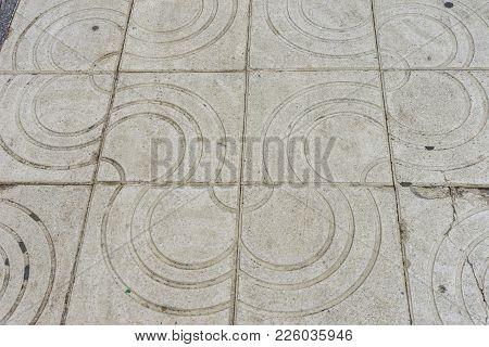 Stone Design Pattern Along The Malagueta Beach In Malaga, Spain, Europe