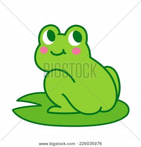 Cute Cartoon Frog Butt Drawing. Funny Illustration For Children, Vector Clip Art.