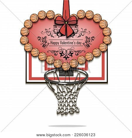 Happy Valentines Day. Heart From Basketball Balls On The Background Basketball Shield With A Ring. V