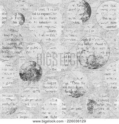 Newspaper Texture. News Collage Clippings With Mixed Unreadable Text On Gray Aged Vintage Old Backgr