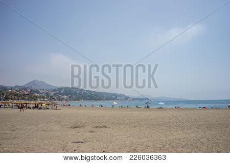 A Hill Overlooking The Sandy Malagueta Beach At Malaga, Spain, Europe