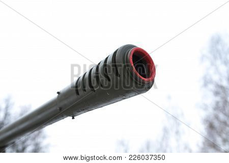 Muzzle Artillery Cannon Against The Sky For Any Purpose