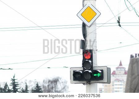 A Traffic Light With A Burning Red Signal For Any Purpose