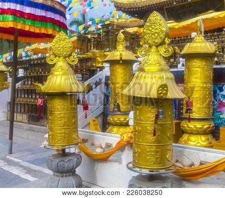 Buddhist Praying Flags Near The Monastery In Sanya, China