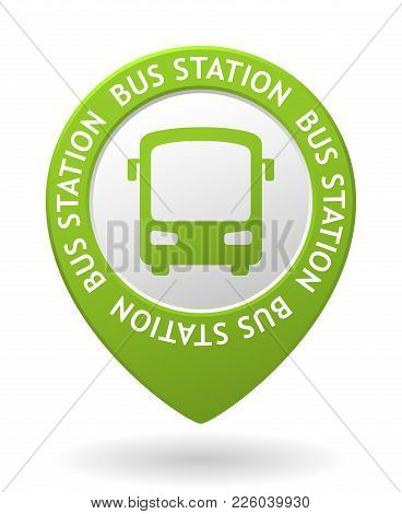 Vector Green Map Pointer With Bus Station Icon