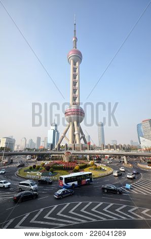 Shanghai, China- Dec 26, 2017: View Of Oriental Pearl Tower In Shanghai. It Is A Landmark And Popula
