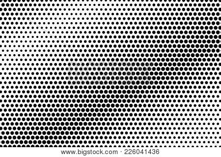 Black And White Dotted Texture. Diagonal Halftone Vector Background. Metallic Dotted Gradient. Abstr