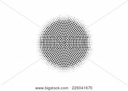 Black And White Dotted Texture. Centered Halftone Vector Background. Circle Dotted Gradient. Abstrac