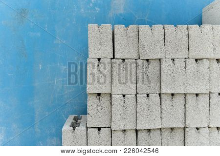 Cement Block Pile In The Construction Site For Built The Countryside House.many Bricks At Constructi