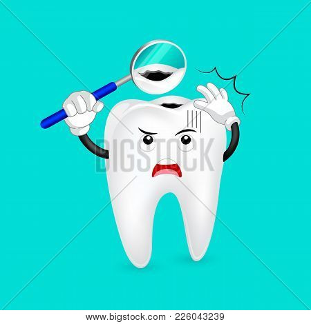 Cavity Tooth Character With Mouth Mirror. Dental Care Concept, Illustration.
