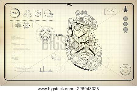Artificial Heart, Robot Heart, Technological Blueprint, Abstract Technology