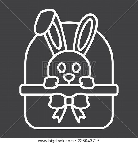 Easter Bunny In Basket Line Icon, Easter And Holiday, Rabbit Sign Vector Graphics, A Linear Pattern