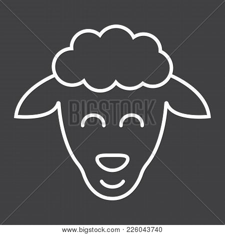 Sheep Line Icon, Easter And Holiday, Lamb Sign Vector Graphics, A Linear Pattern On A Black Backgrou