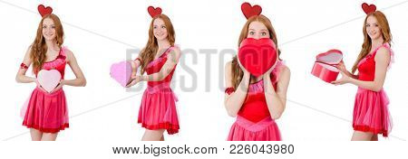 Pretty young model in mini pink dress holding gift box isolated