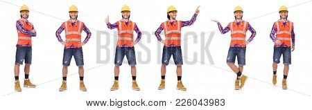 Young construction worker in helmet and briefs isolated on white