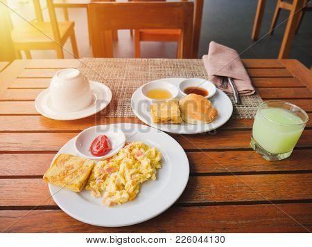 Fruit Juice, Omelet And Bacon For Healthy Breakfast, On Top Table.