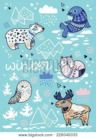 Vector Cartoon Illustration Of Arctic Animals In Blue Colors. Cute Print For Christmas And New Year