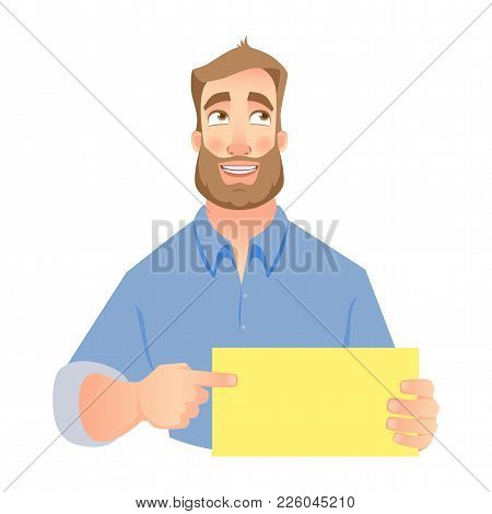 Man Holding Blank Card. Shy Businessman Pointing To Card. Vector Illustration Set