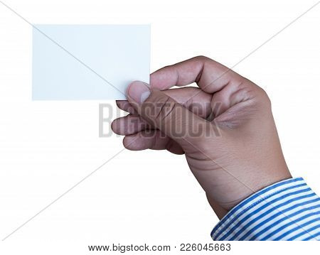 Hand Hold Blank White Card Mockup Business Branding.