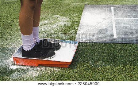 Students Boy Wait For Queue And Prepare Himself For Taking Long Jump On Flour Powder Mark On Sport C