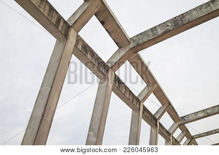 Details Of Building Roof With Old Cement Lines