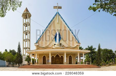 A Typical Common Church In The City Of Kon Tum In The Central Highlands Of Vietnam