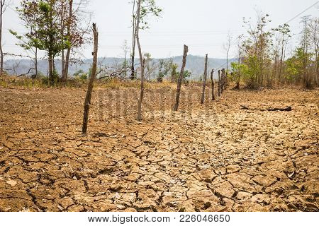 Land With Dry And Cracked Ground In Tay Nguyen, Central Highlands Of Vietnam