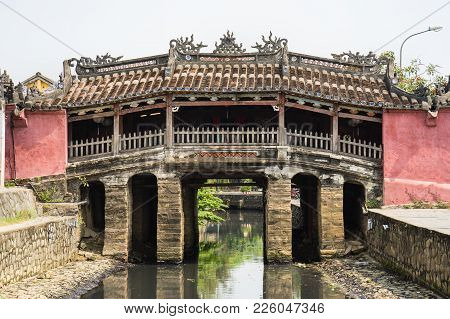 Nhat Ban Bridge, Japanese Covered Bridge In Hoi An Ancient Town. Hoi An Is Unesco Site