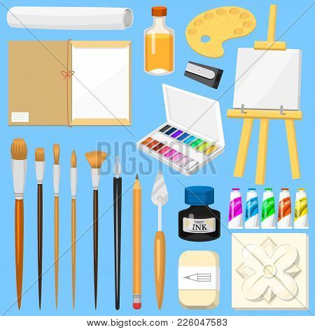 Artist Tools Vector Watercolor With Paintbrushes Palette And Color Paints For Artwork In Art Studio