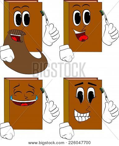 Books Holding Toothbrush. Cartoon Book Collection With Happy Faces. Expressions Vector Set.