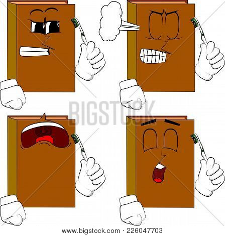 Books Holding Toothbrush. Cartoon Book Collection With Angry And Sad Faces. Expressions Vector Set.