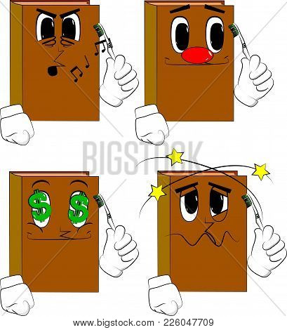 Books Holding Toothbrush. Cartoon Book Collection With Various Faces. Expressions Vector Set.