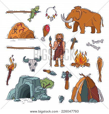 Primitive People Vector Primeval Neanderthal Character And Ancient Caveman Fire In Stone Age Cave Il