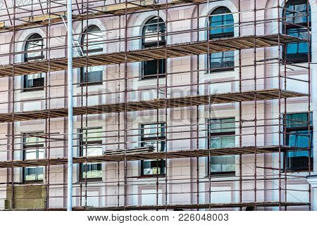 Building Under Renovation With Scaffolding