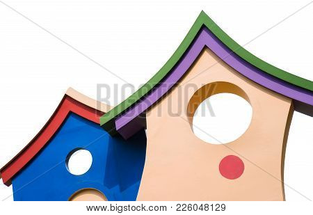 Closed Up Colorful Children Playhouse With Roof Isolated On White