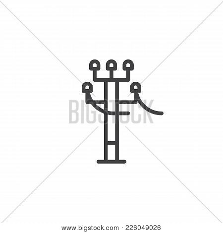 Tower Electricity Supply Line Icon, Outline Vector Sign, Linear Style Pictogram Isolated On White. H