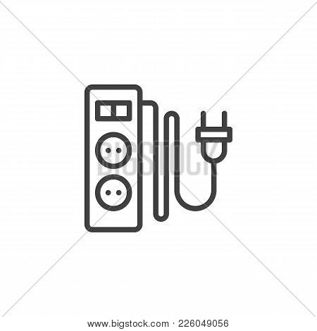 Electric Extension Cord With Two Slots Line Icon, Outline Vector Sign, Linear Style Pictogram Isolat